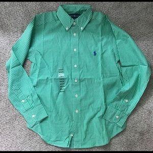 New Polo Ralph Lauren dress shirt mini plaid green